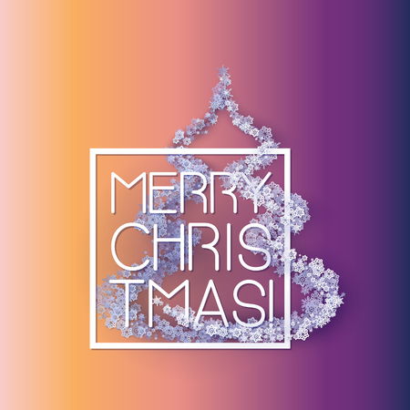 Snow frame with Merry Christmas text.. Winter frame Christmas tree made of snowflakes of various size. New Year, Christmas pink and purple abstract vector background.