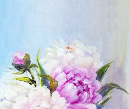 flowers bouquet: Pink and white peony background. Oil painting floral texture