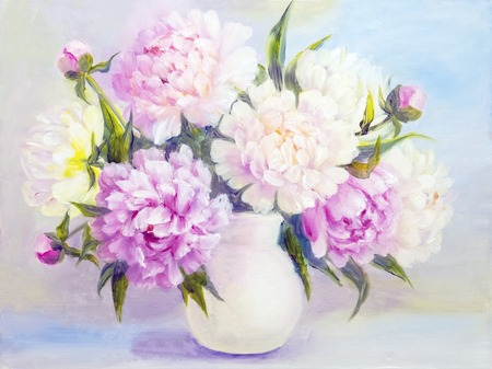 Peony Pink Flowers In A White Vase Oil Painting Illustration Stock
