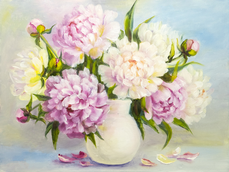 Peony pink flowers in a white vase. Oil painting illustration