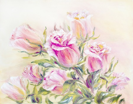 Pink light Roses, oil painting on canvas