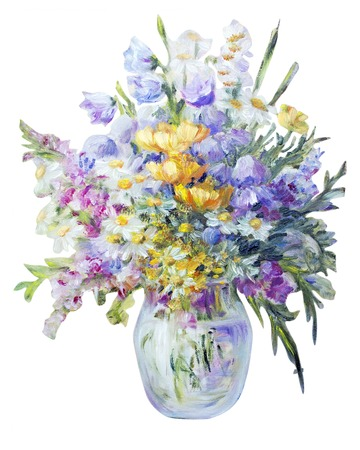 Wildflowers in vase isolated on white, oil painting on canvas Stock Photo