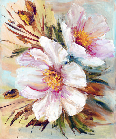 Pink and white peony background. Oil painting floral texture