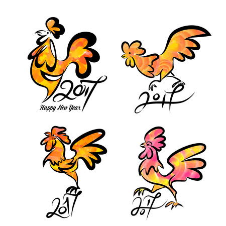 Set cute hand drawn cartoon characters of rooster, symbol of new year 2017. Vector illustration.