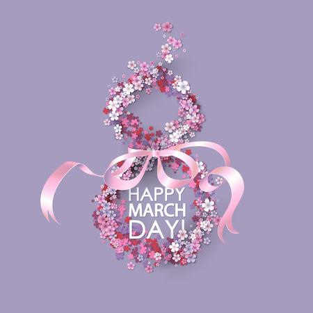 フレームの花とピンクのリボンと女性当日の背景。3 月 8 日の招待状。ベクトルの図。  イラスト・ベクター素材