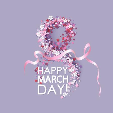 Femmes jour fond avec des fleurs de cadre et ruban rose. 8 Mars carte d'invitation. Vector illustration.