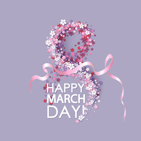 mar: Women day background with frame flowers and pink ribbon. 8 March invitation card. Vector illustration.