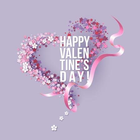 ピンクの花のハート型でバレンタインの日カードとテキストとリボン。ベクトル図
