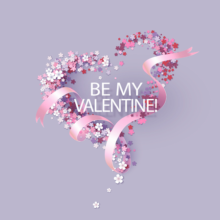 Valentines Day card with pink flowers heart shaped and ribbon with text. Vector illustration Vettoriali