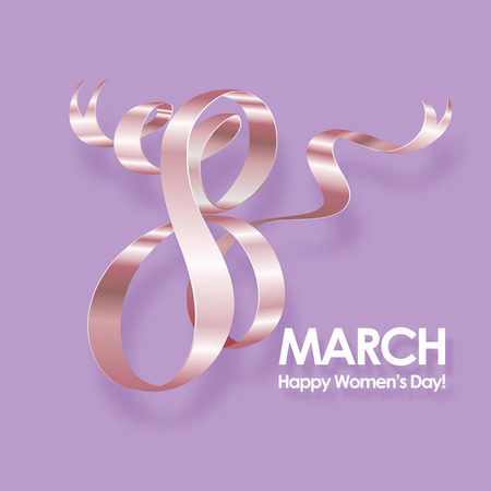 March 8 International Womens Day greeting card. Background template. Vector illustration.