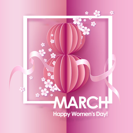 paper craft: Card for 8 March. Abstract pink background with text and flowers .Vector illustration. Paper cut and craft style. Vectores