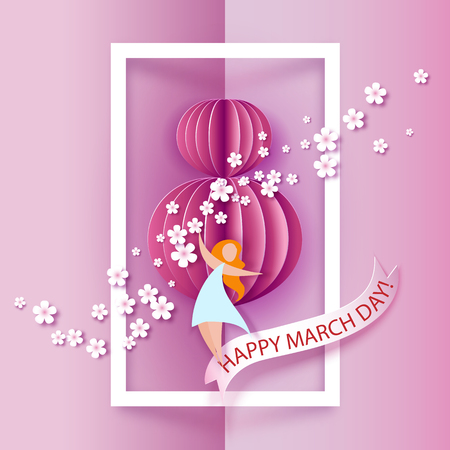 Card for 8 March women day. Abstract pink background with text and flowers .Vector illustration. Paper cut and craft style. Illustration