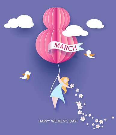 cut paper: Card for 8 March womens day. Abstract background with text and flowers .Vector illustration. Paper cut and craft style.