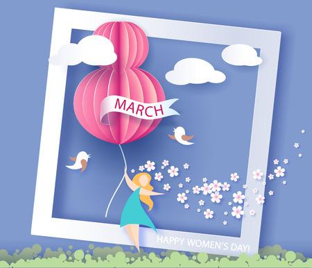 Tarjeta para el 8 de marzo Día de la Mujer. Resumen de antecedentes con el texto y las flores de vector ilustración. El corte del papel y el estilo artesanal.