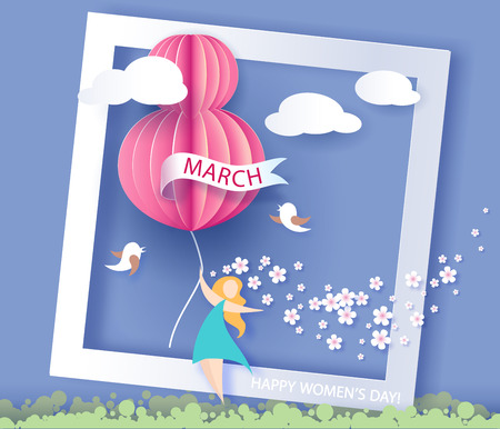 Card for 8 March womens day. Abstract background with text and flowers .Vector illustration. Paper cut and craft style.
