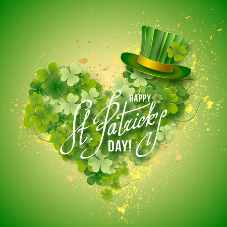 st patricks party: Saint Patricks Day Card with Green Hat and heart shaped Shamrock on Blurred Green Background. Calligraphic Lettering Happy St Patricks Day. Vector Illustration.