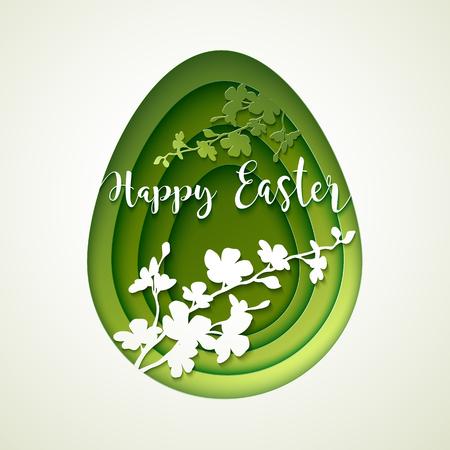 arbol de pascua: Postal de Pascua con recortar el huevo de papel de color verde vintage con la silueta del árbol floreciente.