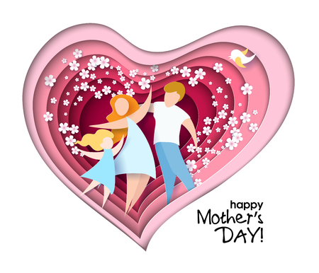 Happy Mothers Day card. Creative paper cut patternwith mom silhouette and her child with flowers. Vector illustration with beautiful woman and baby with paper frame heart shaped. Vettoriali