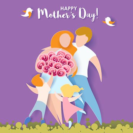 mujeres felices: Hermosas mujeres con sus hijos y su marido. Tarjeta feliz del día de madres. Estilo de corte de papel. Ilustración del vector