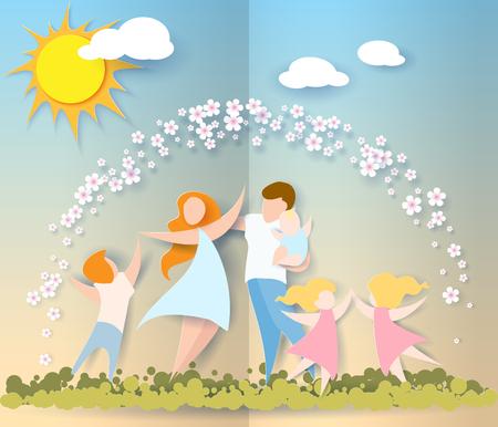 彼女の子供たちと夫を持つ美しい女性。幸せな母の日カード。紙のカット スタイル。ベクトル図