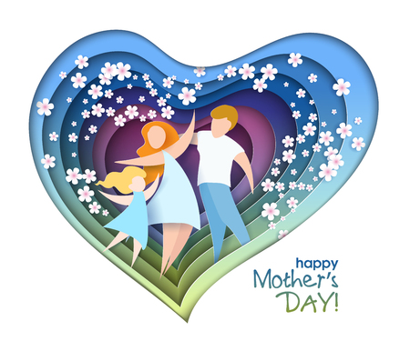 Happy Mothers Day card. Creative paper cut background with mom silhouette and her child with flowers.