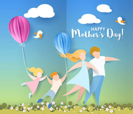 Beautiful women with her children and husband. Happy mothers day card. Paper cut style. Vector illustration