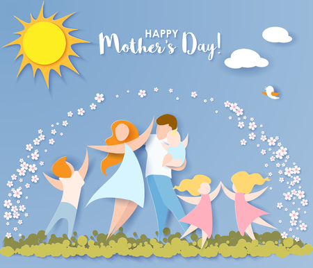 Beautiful women with her children and husband. Happy mothers day card. Paper cut style. Vector illustration Stock Illustratie