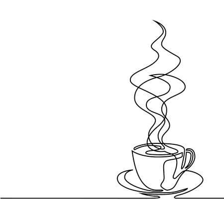 unbroken: Continuous line drawing of cup of coffee.