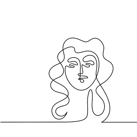 Continuous line Abstract portrait of a woman. 版權商用圖片 - 77694938