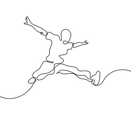 Continuous line drawing. Happy jumping man on white background. Vector illustration.