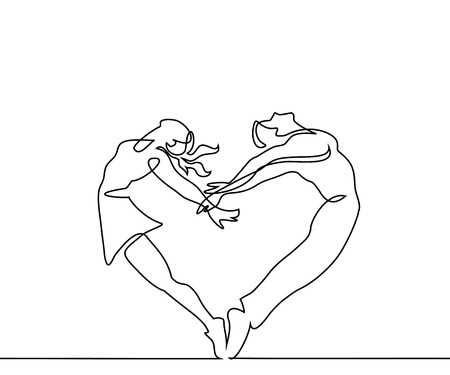 Continuous line drawing. Two people couple make heart in jump. Vector illustration
