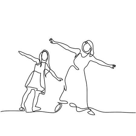 Continuous line drawing. Family with mother and girl in fly. Vector illustration.