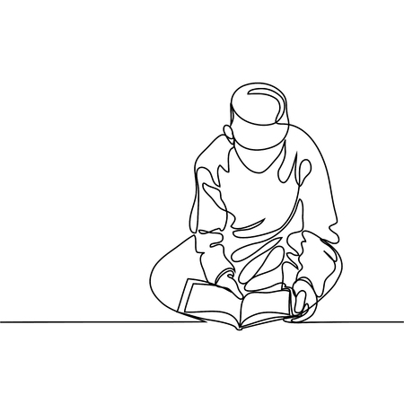 Boy in fez reading Koran. Continuous line drawing vector illustration.