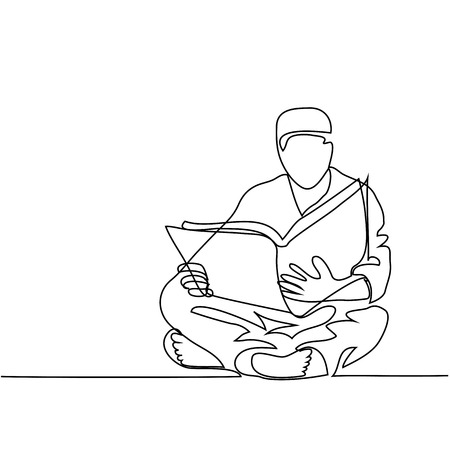 Man in fez reading Koran. Continuous line drawing vector illustration Illustration