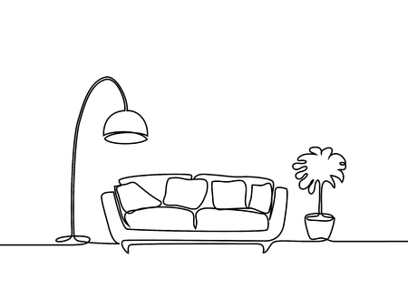 Continuous line drawing. Interior with sofa, floor lamp and plant. Vector illustration.