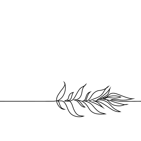 Continuous line drawing of plant with leaves. Vector illustration