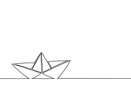 Continuous line drawing of paper boat. Vector business icon message illustration