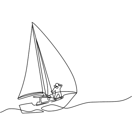 Continuous line drawing of sailboat with captain. Business icon. Vector illustration Illustration