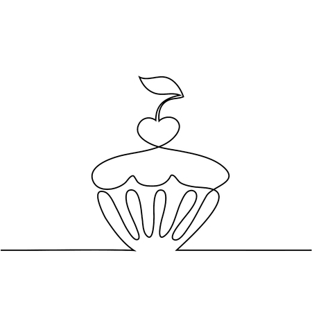 continue: Cup cake with cherry. Continuous line drawing design vector. Illustration
