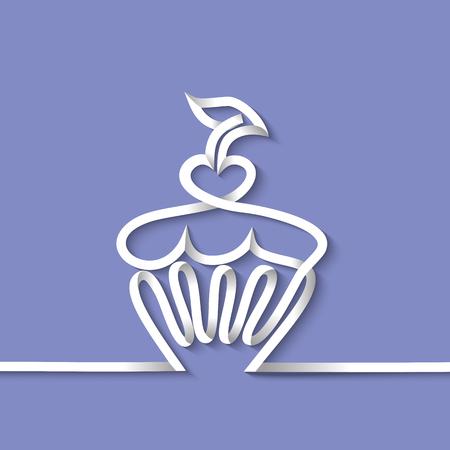 Cup cake avec de la cerise. Dessin au trait continu avec bande de papier. illustration vectorielle de conception. Illustration