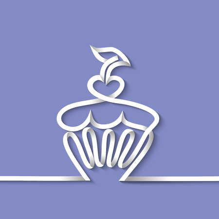 strip design: Cup cake with cherry. Continuous line drawing with paper strip. design vector illustration.