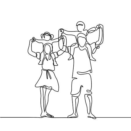 Ciągła linia rysunkowa wektorowa ilustracja. Szczęśliwa rodzina z dziećmi na ramionach