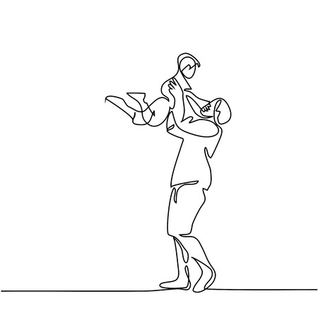 Continuous line drawing vector illustration. Father with son in handsette. Ilustração