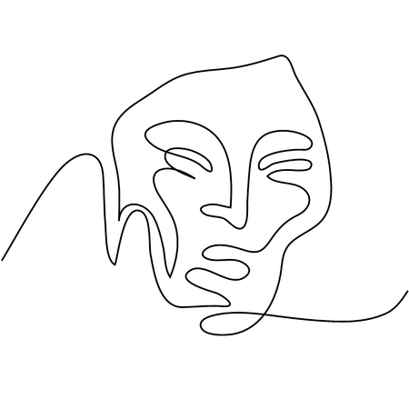 Continuous line drawing. Abstract portrait of a woman. Vector illustration. Illustration