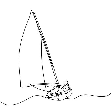 Continu lijn tekening van zeilboot met kapitein. Vector illustratie Stockfoto - 80179011