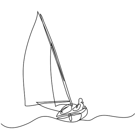 Continuous line drawing of sailboat with captain. Vector illustration Vectores