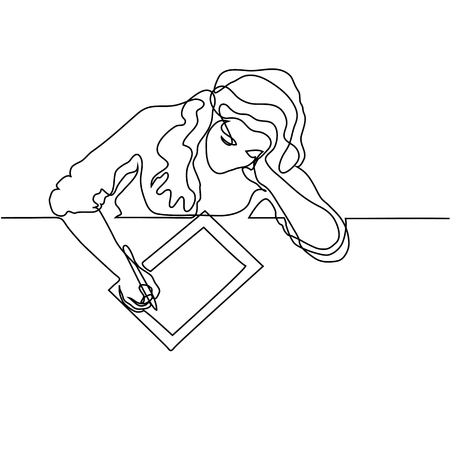 Continuous line drawing. Woman sitting and drawing with tablet. Vector illustration