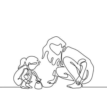 連続的にライン描画ベクトル イラスト。ビーチでのプレーの小さな娘を持つ母