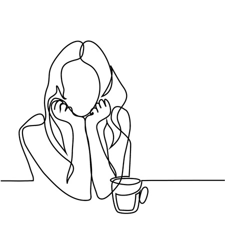Continuous line drawing. Abstract portrait of a woman with cup of tea. Vector illustration.