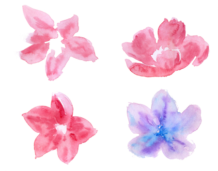 decoration: Set of decorative flowers, leaves for design. Watercolor illustration. Stock Photo